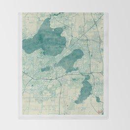 Madison Map Blue Vintage Throw Blanket