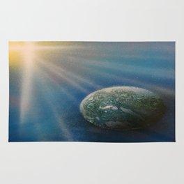 Sun Cross Earth Space Spray Paint Rug
