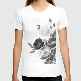 grayscale poenies and roses T-shirt