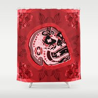 sarcasm Shower Curtains featuring Sarcasm skull on pillow _ red by NENE W