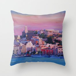 Ibiza Eivissa Old Town and Harbour Pearl of the Mediterranean Throw Pillow