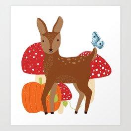 Brown Deer and Blue Butterfly Autumn Design Art Print