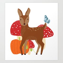 Brown Deer and Blue Butterfly Autumn Design Art Print