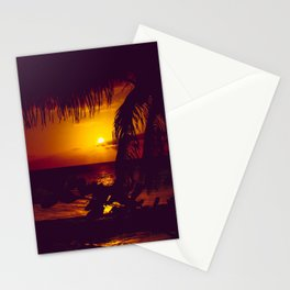 Kamaole Tropical Nights Sunset Gold Purple Palm Stationery Cards