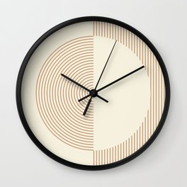 Geometric lines in Shades of Coffee and Latte 3 Wall Clock