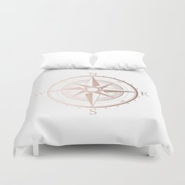 Rose Gold Compass Duvet Cover