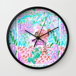 Asian Bamboo Garden in Cherry Blossom Watercolor Wall Clock