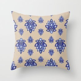 Jewelbox: Sapphire Brooch on Sand Throw Pillow