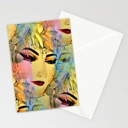 Sensual Female Portrait  Watercolor Stationery Cards