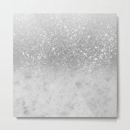 White Marble Silver Ombre Glitter Glam #1 #shiny #gem #decor #art #society6 Metal Print