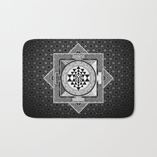 Sri Yantra Black & White Sacred Geometry Mandala Bath Mat