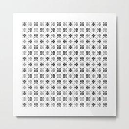 Dark and Light Grey Flower Pattern Metal Print
