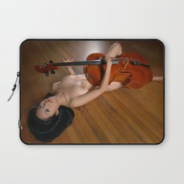 0149-JC Nude Cellist with Her Cello and Bow Naked Young Woman Musician Art Sexy Erotic Sweet Sensual Laptop Sleeve