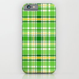 St Patrick's Day Lucky Green Plaid Pattern iPhone Case