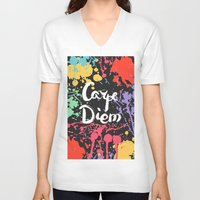 carpe diem V-neck T-shirts featuring Carpe diem by Julia Badeeva