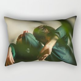 Dancing people, dance, shadows, hands and plants, blurred photography, artistic, forest, yoga Rectangular Pillow