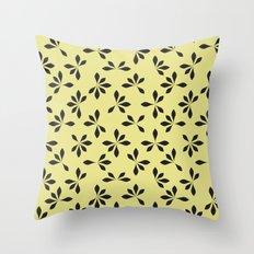 loves me loves me not pattern - banana yellow Throw Pillow