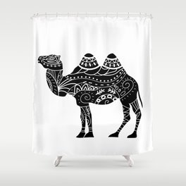 camel silhouette with tribal ornaments Shower Curtain