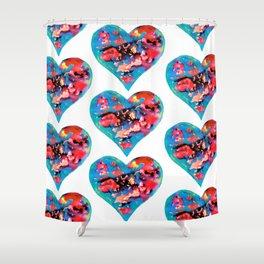 Tie-Dye Hearts Shower Curtain