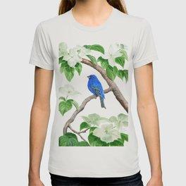 Royal Blue-Indigo Bunting in the Dogwoods by Teresa Thompson T-shirt