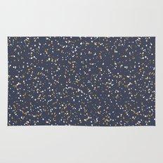 Speckles I: Dark Gold & Snow on Blue Vortex Rug