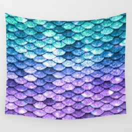 Mermaid Ombre Sparkle Teal Blue Purple Wall Tapestry