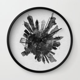 New York City Black and White Skyround / Skyline Watercolor Painting Wall Clock