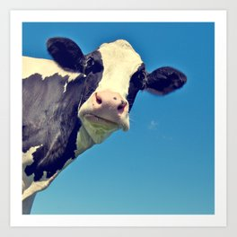 Country Life | Say Hello to Mrs. Cow Art Print