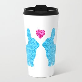 Pair of Blue Damask Patterned Bunny with Cute Pink Heart Travel Mug