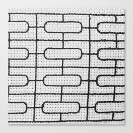Vintage Window Grille Cross Stitch Pattern #7 Canvas Print