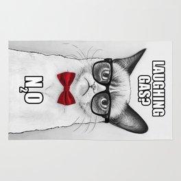 Grumpy Chemistry Cat Geek Science Meme Whimsical Animals in Glasses Rug