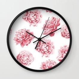 Pink Rose Garden on White Wall Clock