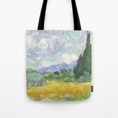 A Wheatfield with Cypresses by Vincent van Gogh Tote Bag