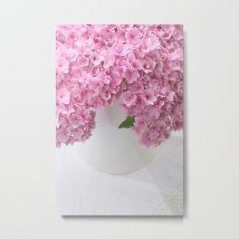 Pink Hydrangea Flowers Metal Print