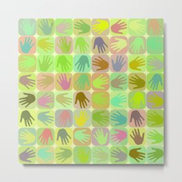 Multicolored hands pattern Metal Print