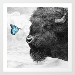 Bison and Butterfly (square format) Art Print