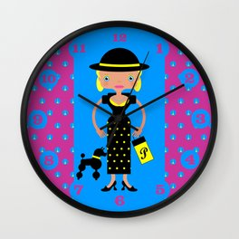 French Chic girl with poodle Wall Clock