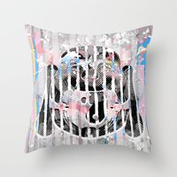 buddah Throw Pillows featuring Buddah - Butterfly by Kristina Snowflake