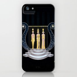 "Art Deco 1920's Illustration ""Lyre"" iPhone Case"