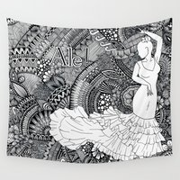 spanish Wall Tapestries featuring spanish dancer by ZINAVARTA