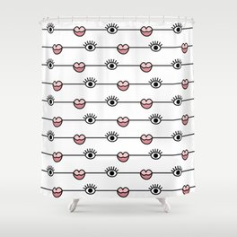 Funky Graphic Lips and Eyes Pattern Black, Pink, White Shower Curtain