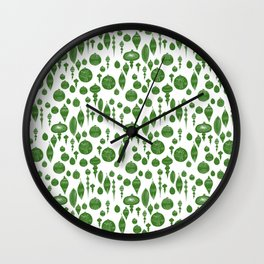 Vintage Christmas Ornaments in Green on White Wall Clock