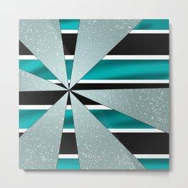 4Shades Glass: Blue B/W Metal Print