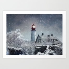 New England Winter Lighthouse Art Print