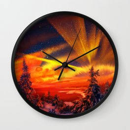 Orange Christmas Wall Clock