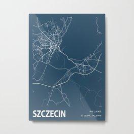Szczecin Blueprint Street Map, Szczecin Colour Map Prints Metal Print
