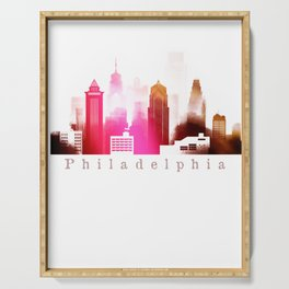 Colorful Philadelphia skyline Serving Tray