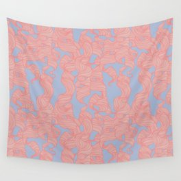 Trailing Curls // Pink & Blue Pastels Wall Tapestry