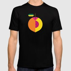 Fruit: Peach MEDIUM Black Mens Fitted Tee