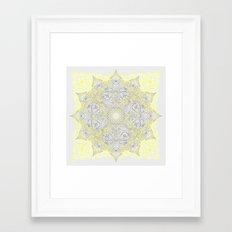 Sunny Doodle Mandala in Yellow & Grey Framed Art Print